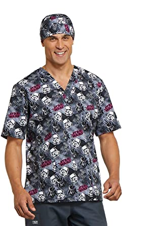 c8ba53b2564 Image Unavailable. Image not available for. Color: Cherokee Tooniforms  Unisex V-Neck Star Wars Print Scrub Top ...