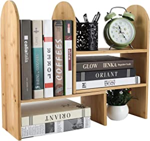 EasyPAG Bamboo Adjustable Desktop Storage Organizer Display Shelf Rack, Office Supplies Desk Organizer
