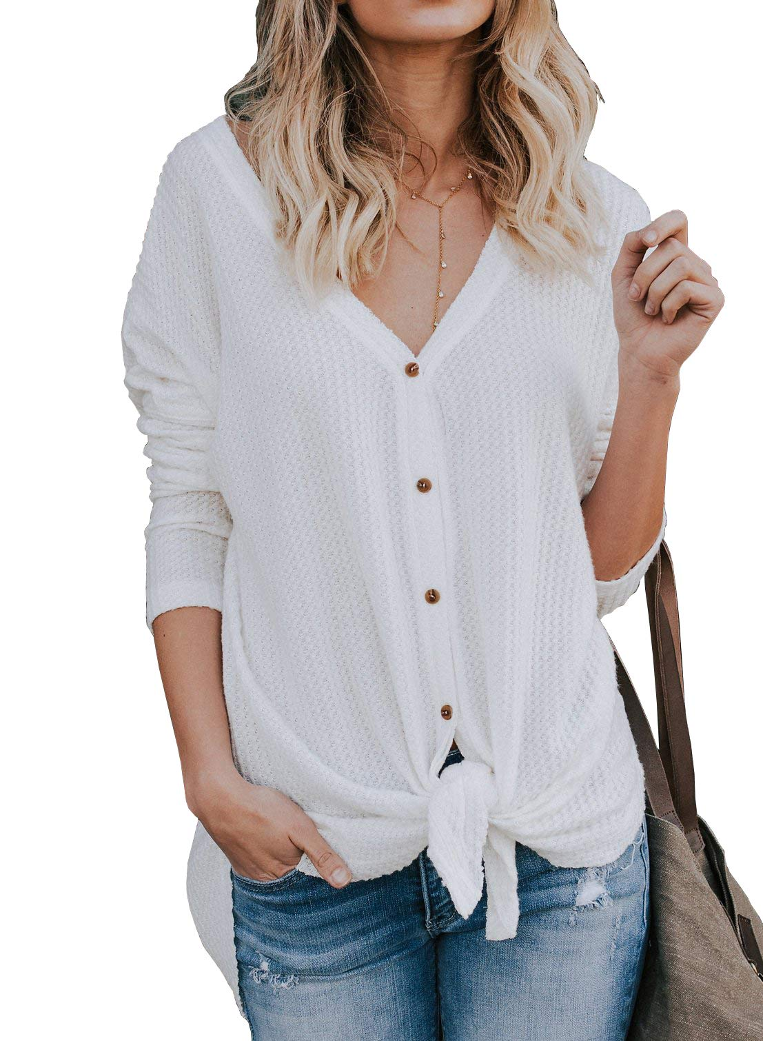 IWOLLENCE Womens Loose Henley Blouse Bat Wing Long Sleeve Button Down T Shirts Tie Front Knot Tops White M
