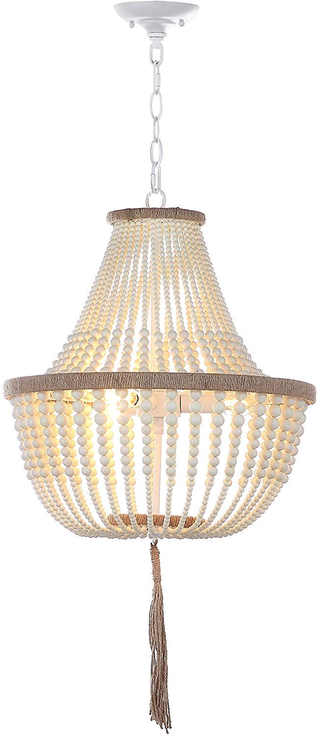 Safavieh Collection Lush Kristi 3 Light 16.5 Beaded Pendant, Creme