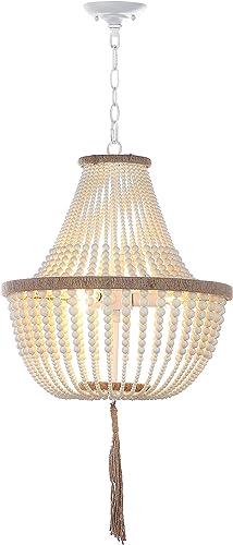 Safavieh Collection Lush Kristi 3 Light 16.5 Beaded Pendant, Cream