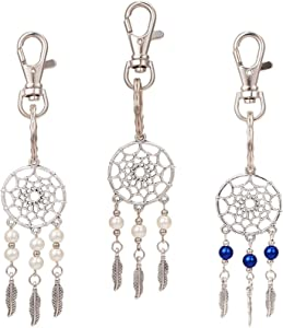 PH PandaHall 12pcs 3 Color Dreamcatcher Keychain Keyring with Clasps Glass Pearl Feather Key Chain Bag Hanging Ring Ornaments Pendant