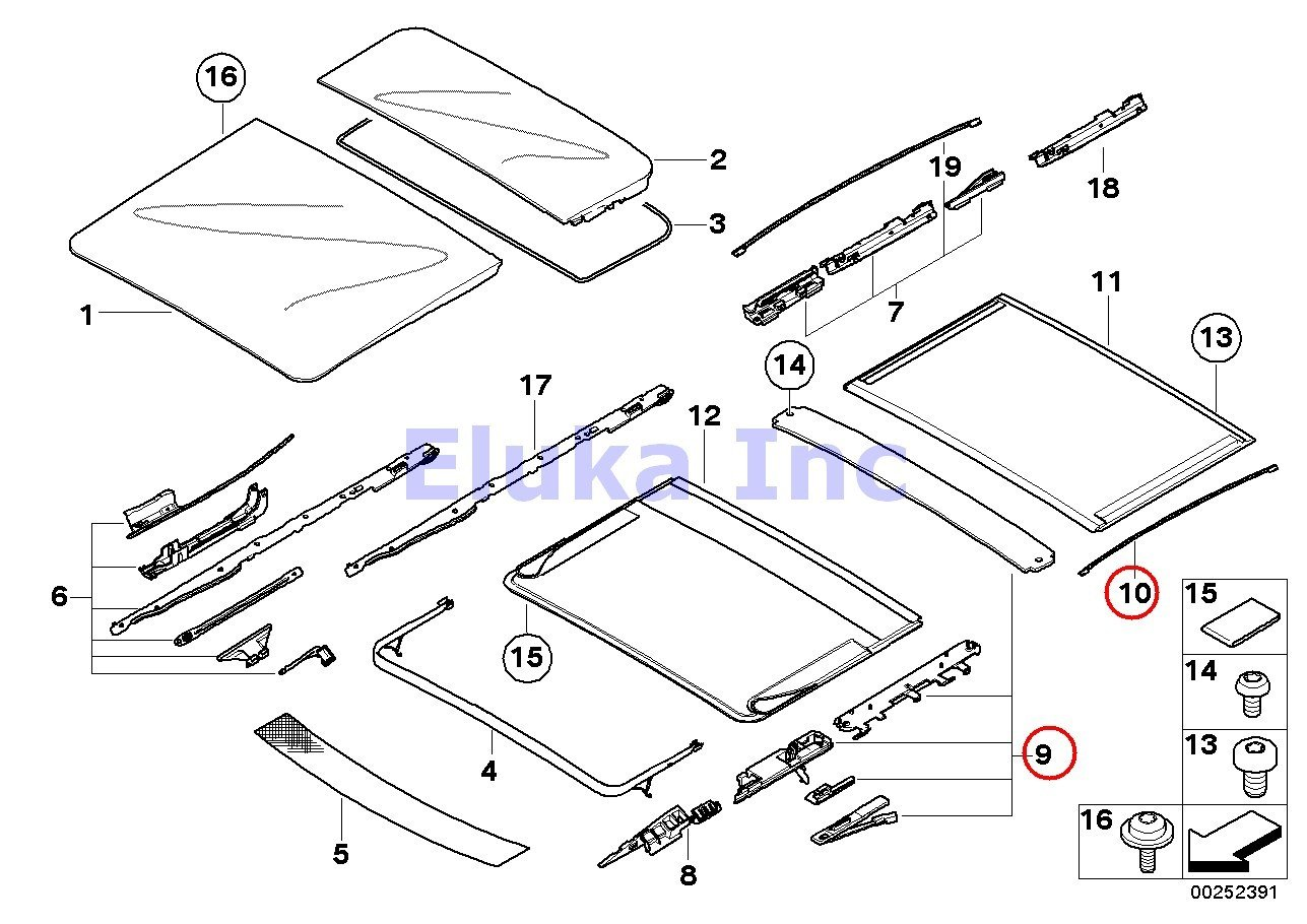 BMW Genuine Front & Rear Sunroof Repair Kit For Sunroof Shade X3 2.5i X3 3.0i X3 3.0i X3 3.0si by BMW