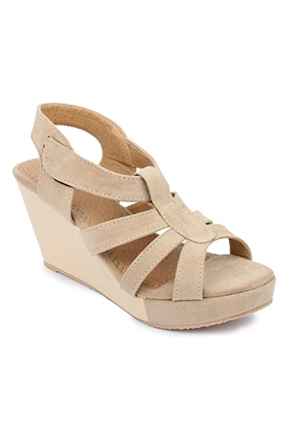 30eedc6ed96 Hanna Women s Cream Casual INSTYLE Wedges  Buy Online at Low Prices ...