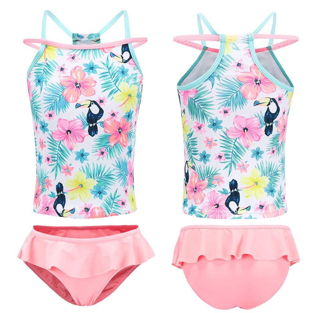 Toddler Baby Girl Kids Two Piece Swimsuit Set Cuekondy Summer Hawaiian Floral Print Ruffle Swimwear Bathing Suit Tankini