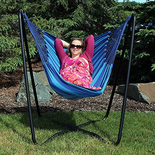 Sunnydaze Hanging Hammock Chair Swing with Sturdy Space-Saving Stand for Indoor or Outdoor Use, Beach Oasis, 330 Pound Capacity