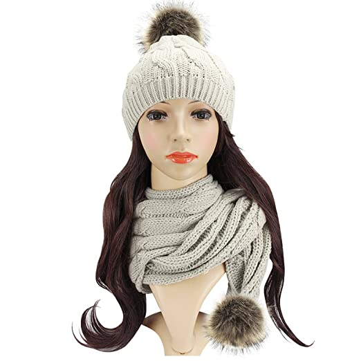 Beautyer Beanie and Scarf Sets For Women Warm in Winter Cable Knit Pom Pom Beanie Hat and Scarf(Beige)