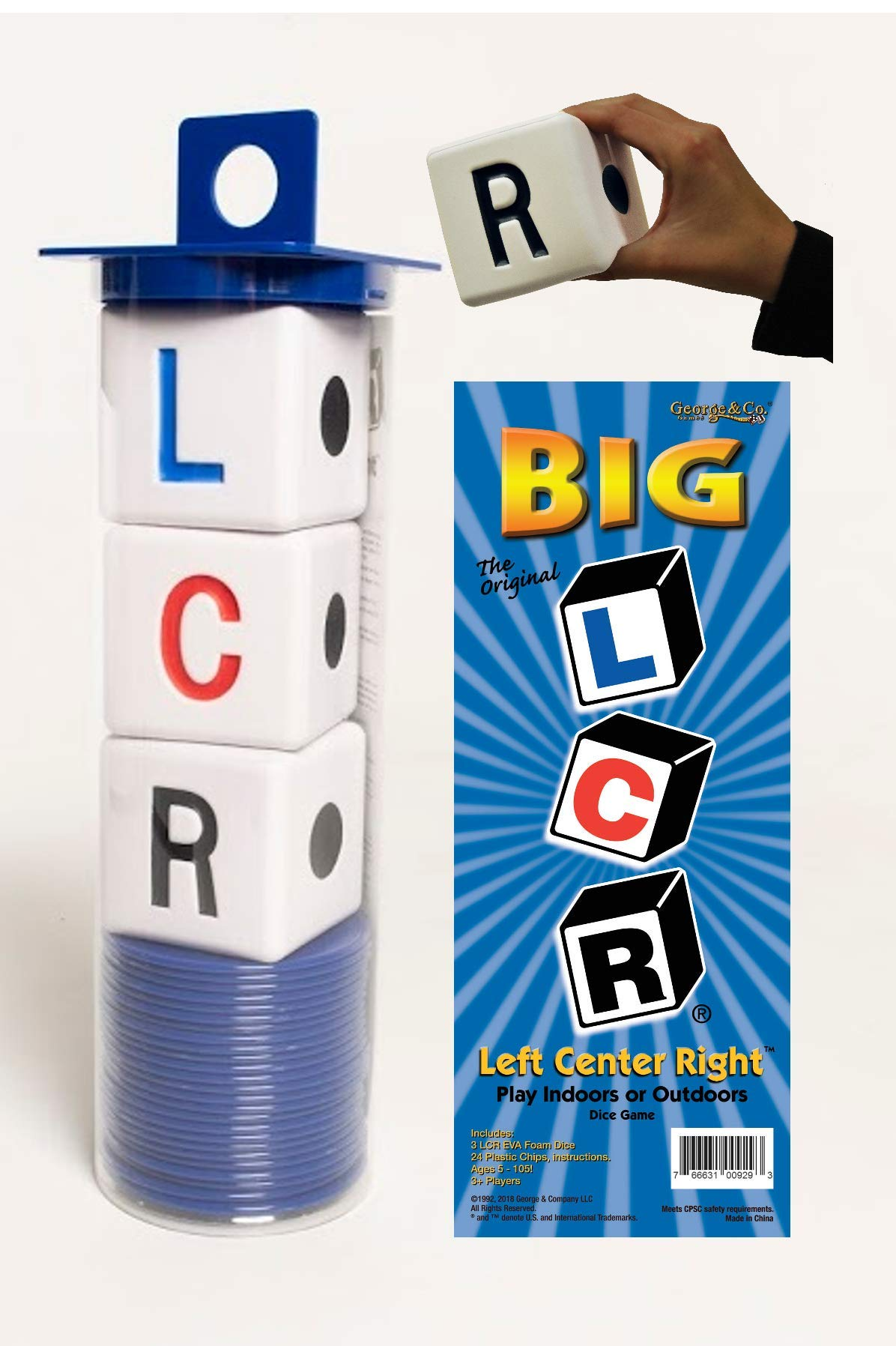 LCR Big Left Center Right Dice Game - Classic (Blue) 18'' H
