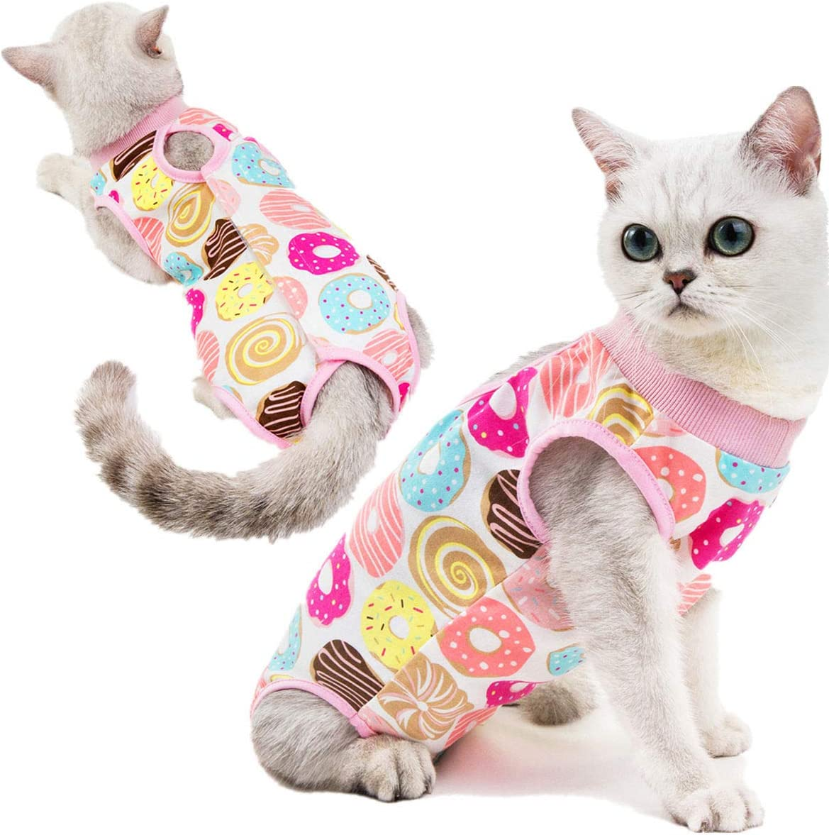 Kismaple Cat Recovery Suit for Abdominal Wounds Surgical Skin Diseases Anti-Licking Cotton Breathable Vest E-Collar Alternative for Cats After Surgery Wear