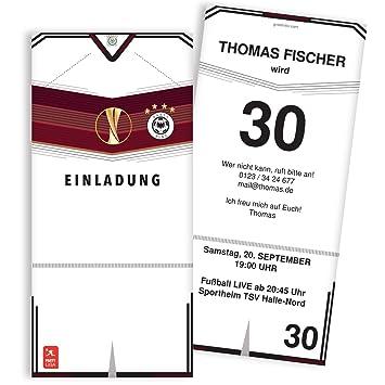 Einladungskarten Zum Geburtstag Als Fußball Trikot | 20 Stück | Inkl. Druck  Ihrer Texte |