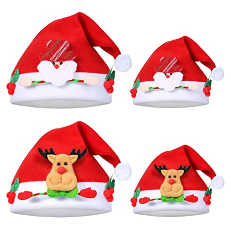 Christmas Hats For Kids.4 Pack Christmas Hat For Kids Adults Santa Hat Xmas Hat Non Woven Fabric New Year Merry Christmas Hats For Celebrations