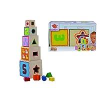 Eichhorn 100002085 - Piramide di 5 cubi impilabili e incastrabili, con gioco delle forme, colore: Naturale legno/Colori vari
