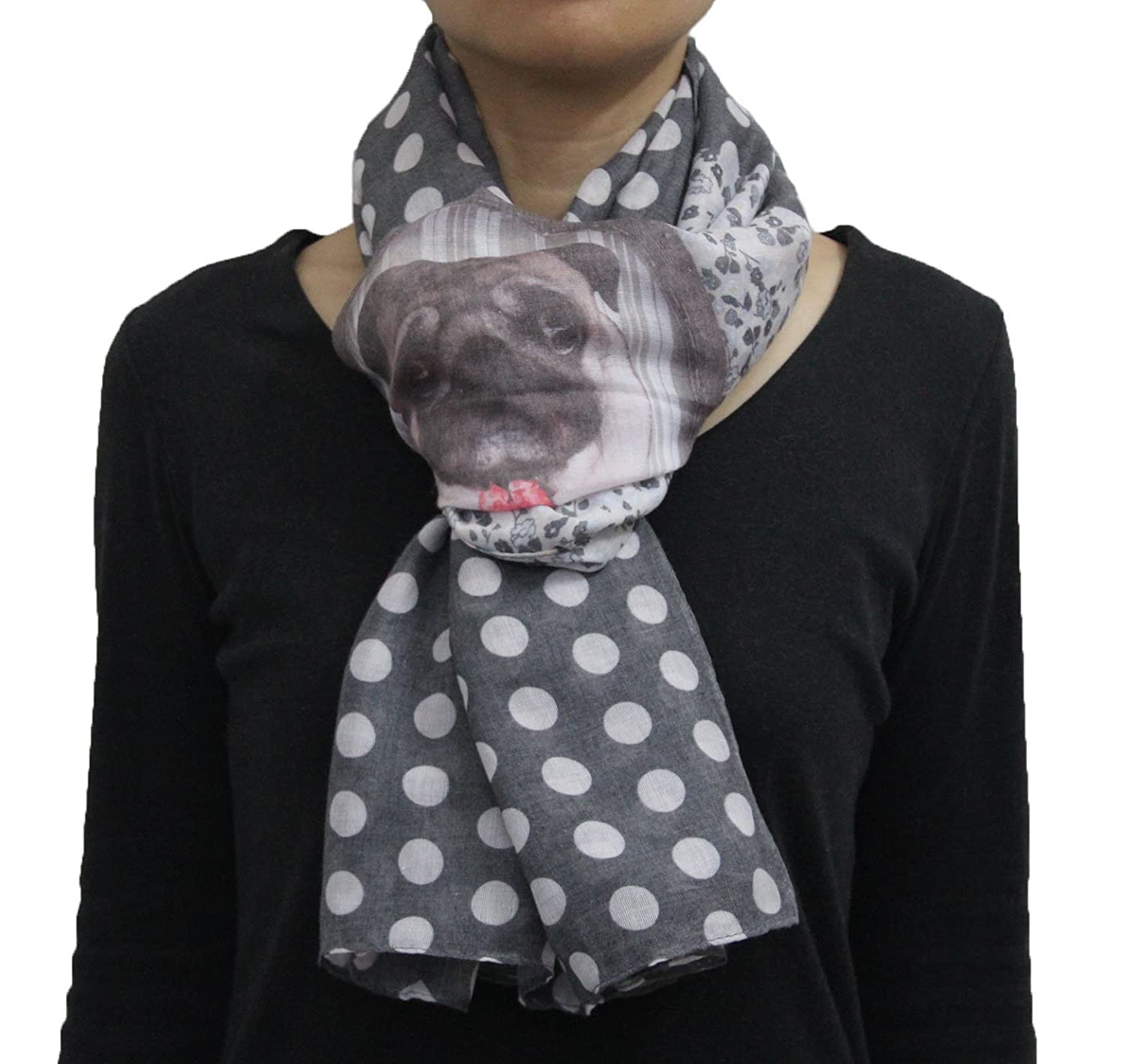Cute Mr Pug in Mirror Polka Dot Print Animal Dog Scarf Black