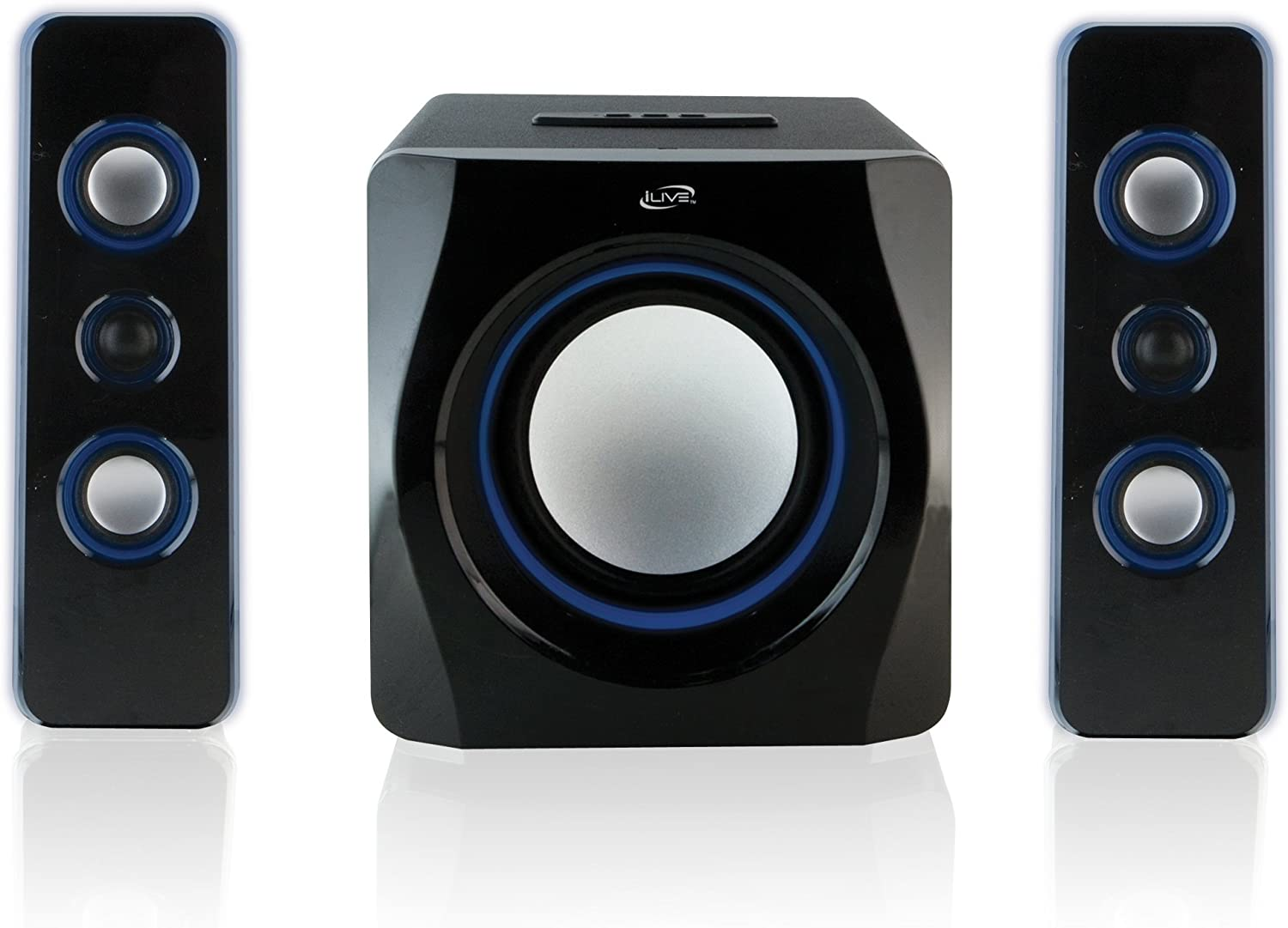 iLive Bluetooth Speaker System with Built-In Subwoofer, 7.28 x 8.86 x 7.28 Inches, Black (iHB23B)