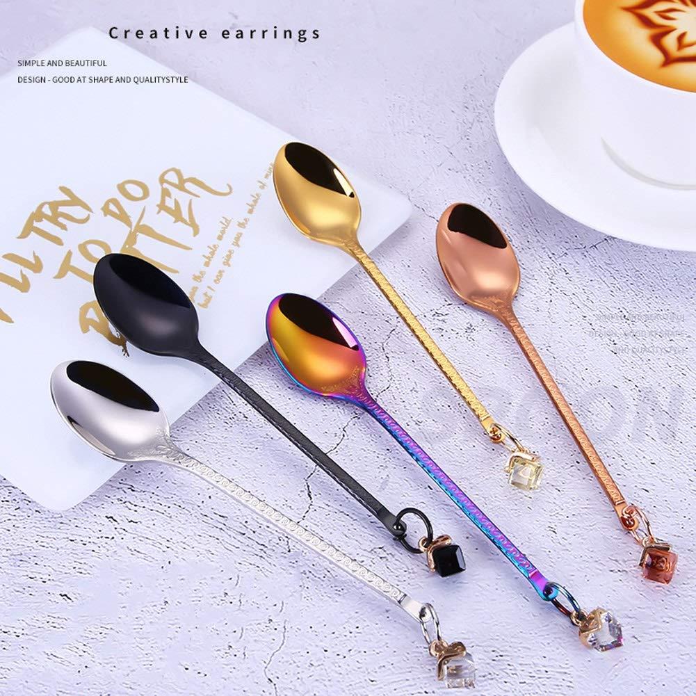 WDNMD Food-Grade Stainless Steel Coffee Scoops Long Handle Table Spoon Smooth Edges Coffee Spoons Earrings Brick Teaspoons BV-88 by WDNMD (Image #7)