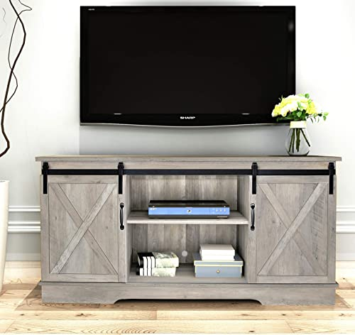 Rainbow Sophia Forest Series Wooden TV Stand with Sliding Barn Door for TVs up to 65 Washed Oak