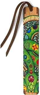 product image for Green Snake - Colorful Art by Christi Sobel - Wooden Bookmark with Suede Tassel