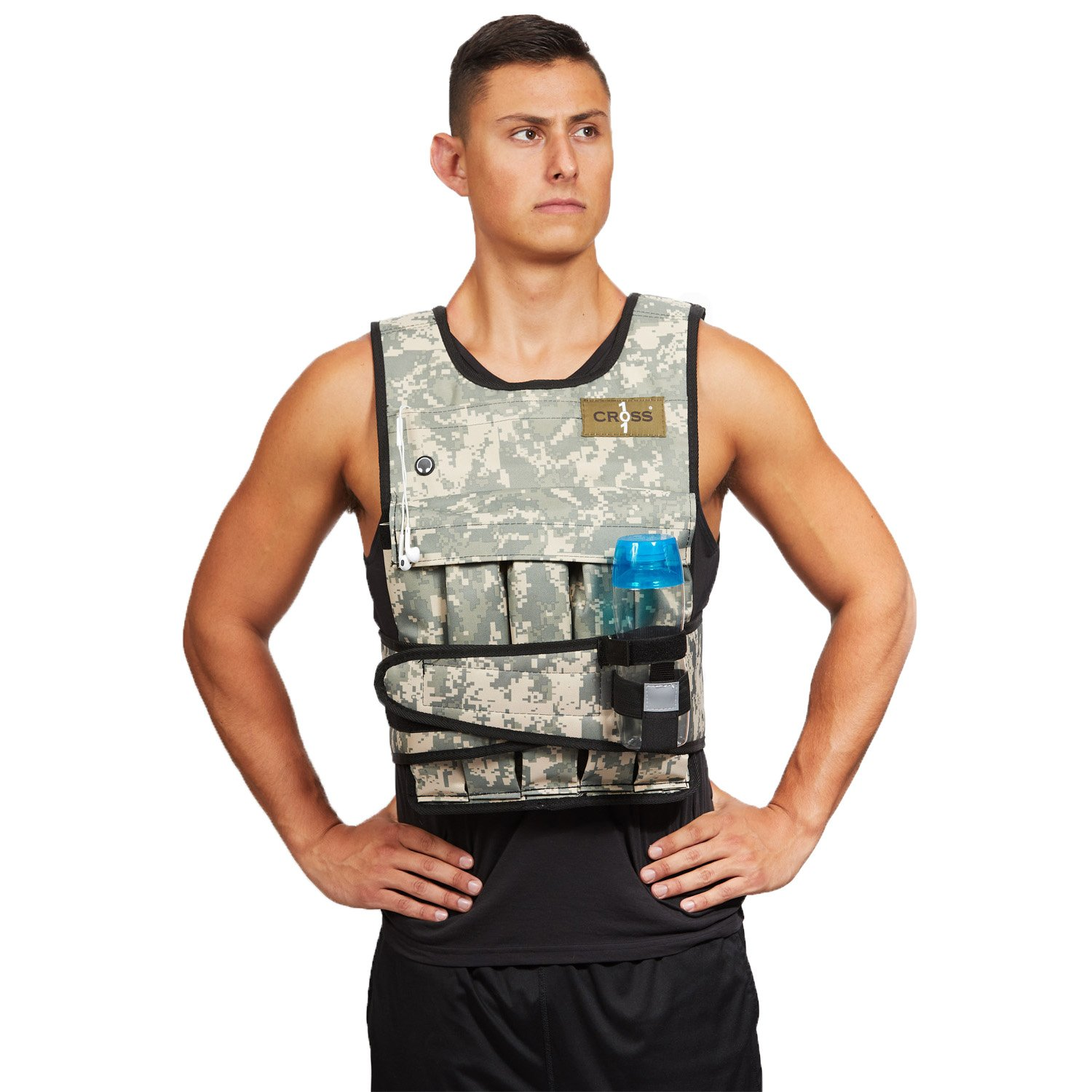 Cross 101 Adjustable Weighted Vest, 40 lbs (Camouflage) With Phone Pocket & Water bottle holder by CROSS101