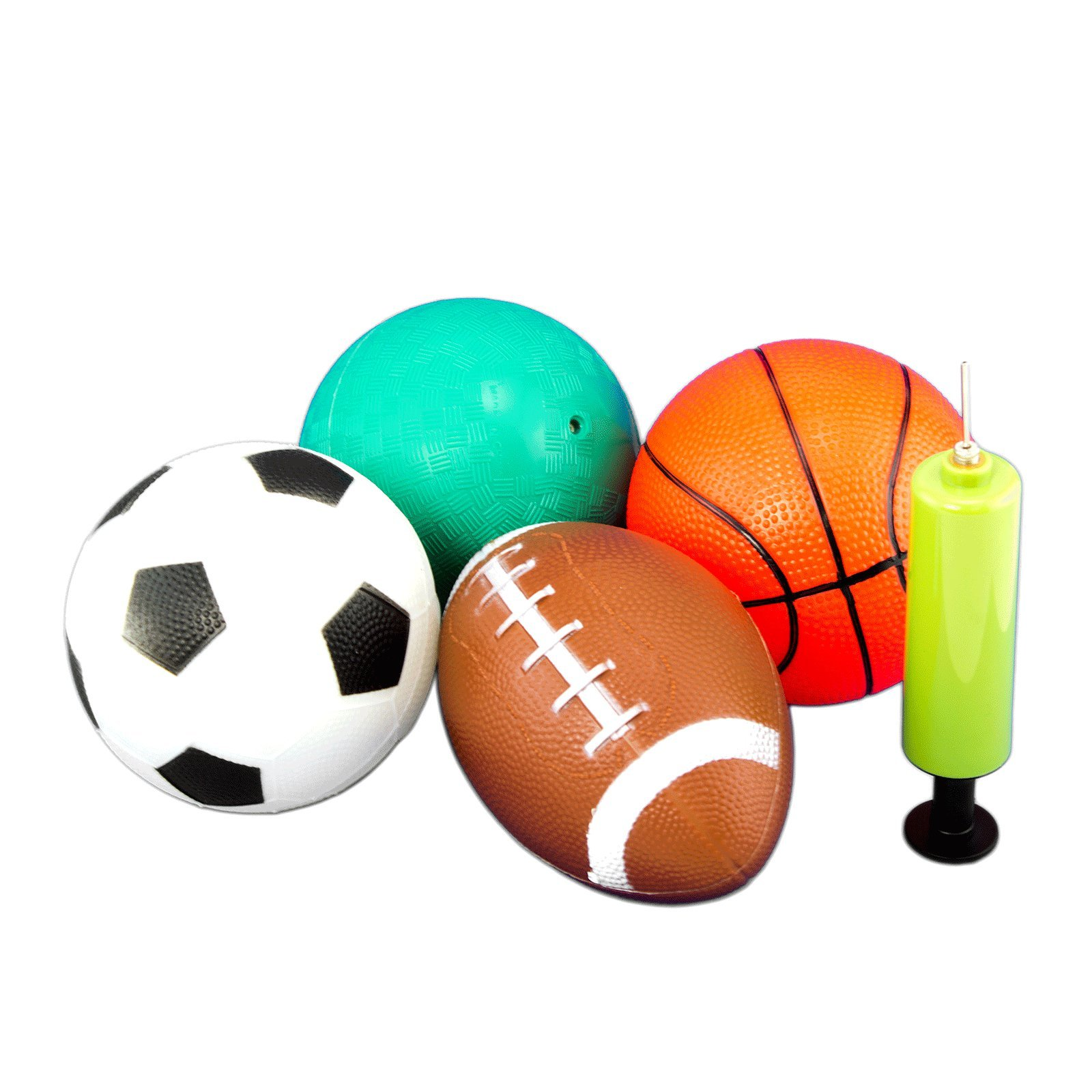 Tytroy 4 Piece 5'' Sport Balls with 1 Pump (Basketball, Soccer Ball, Football, Playground/Kickball) by Tytroy
