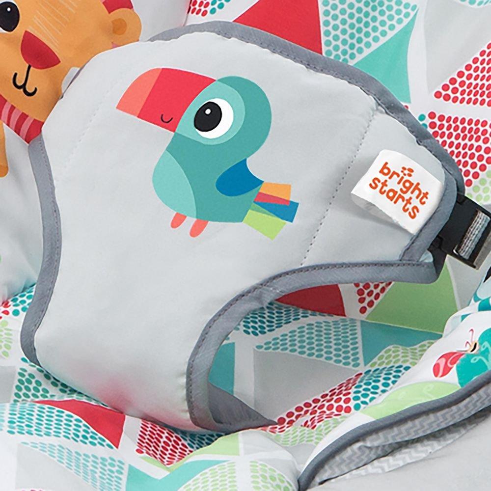 Bright Starts vibrierende Babywippe automatischer Abschaltfunktion 3 Spielzeugen und abnehmbarem Spielbogen Safari Suprise mit 7 Melodien
