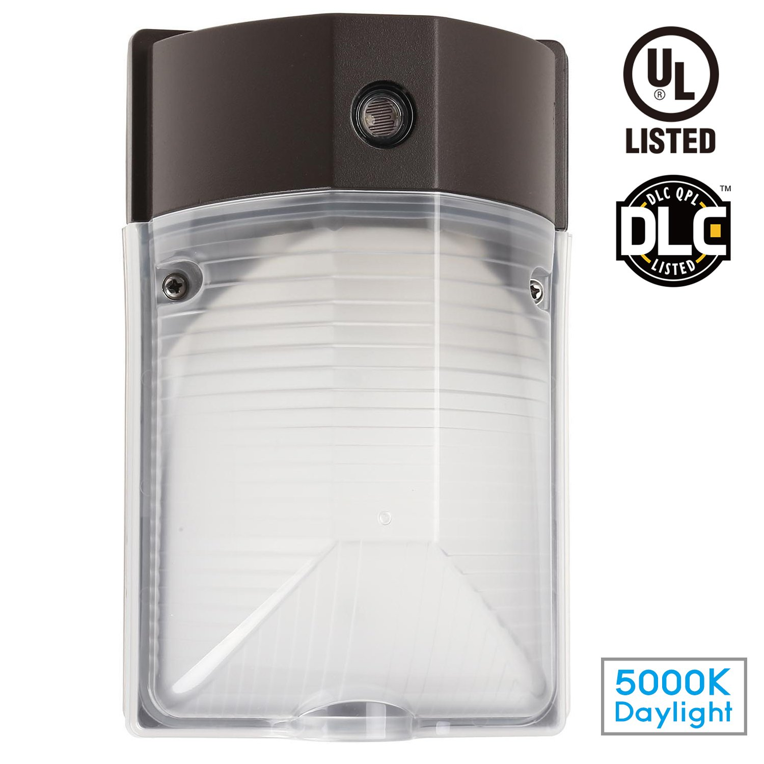 15W LED Wall Mount Light PHOTOCELL Included, DLC & UL-Listed Dusk to Dawn Wall Pack, 100-150W MH and HPS Replacement, 1600lm, 120V, Daylight, Outdoor/Entrance Security Light (5-Year Warranty)