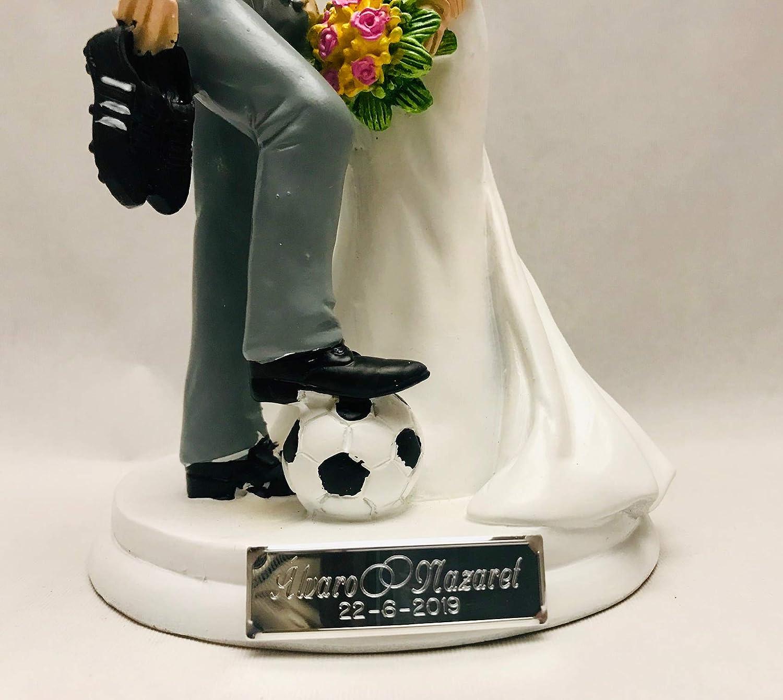 Figuras GRABADAS de boda novios fútbol para tarta pastel ...