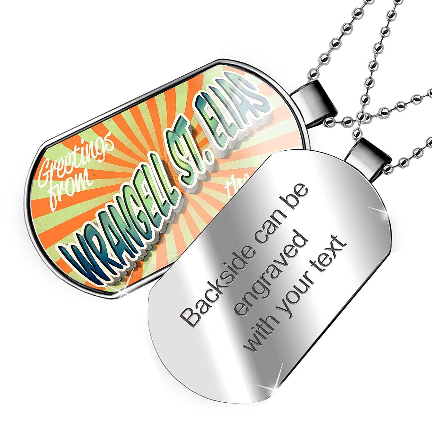 NEONBLOND Personalized Name Engraved Greetings from Wrangell/St./Elias Vintage Postcard Dogtag Necklace