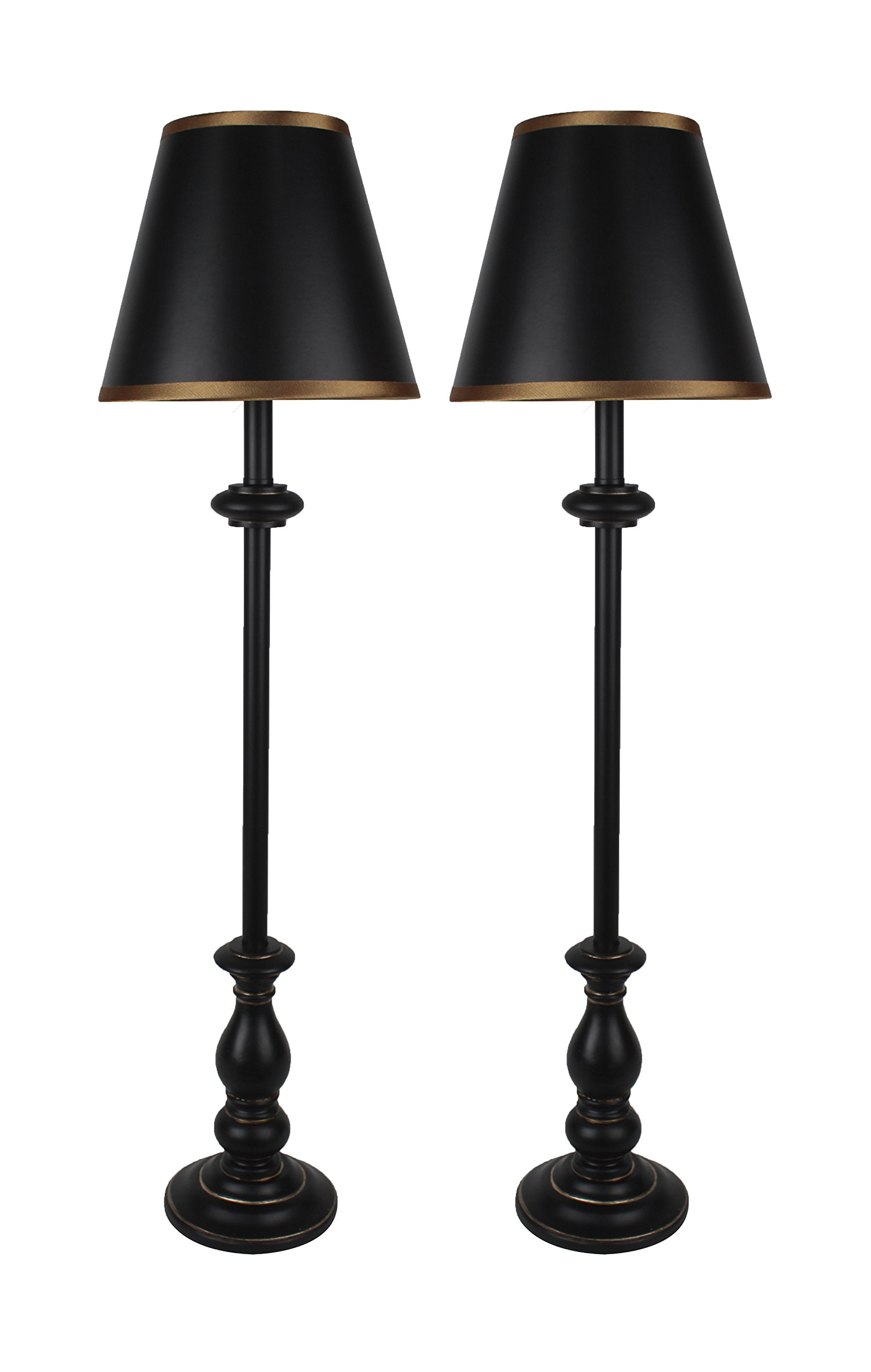 Urbanest Set of 2 Banchetto Buffet Lamps in Distressed Black with Gold Trim