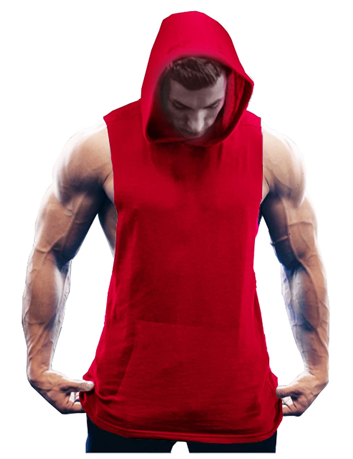 COOFANDY Men's Workout Hooded Tank Tops Sleeveless Gym Hoodies with Kangaroo Pockets 17000307001