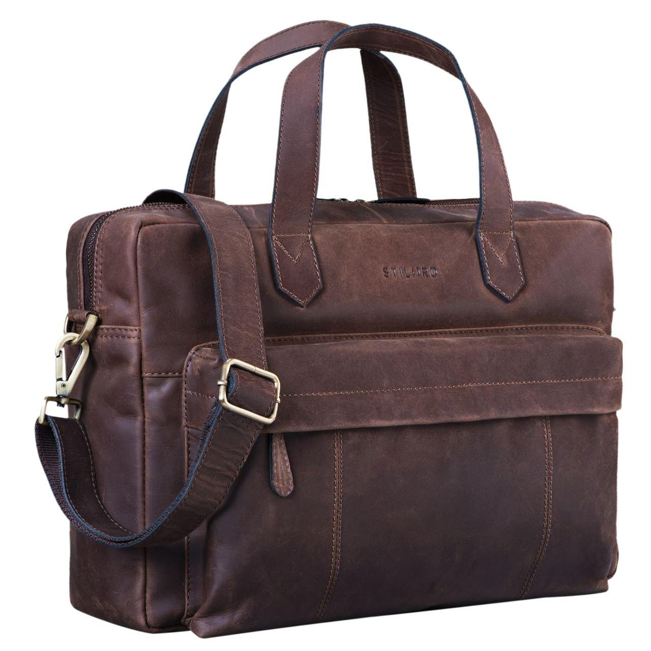 STILORD 'Erich' Vintage Leder Bürotasche große Umhängetasche für Herren und Damen mit 15.6 Zoll Laptop-Fach Elegante Aktentasche DIN A4 für Business Arbeit Uni, Farbe:Cordoba - braun