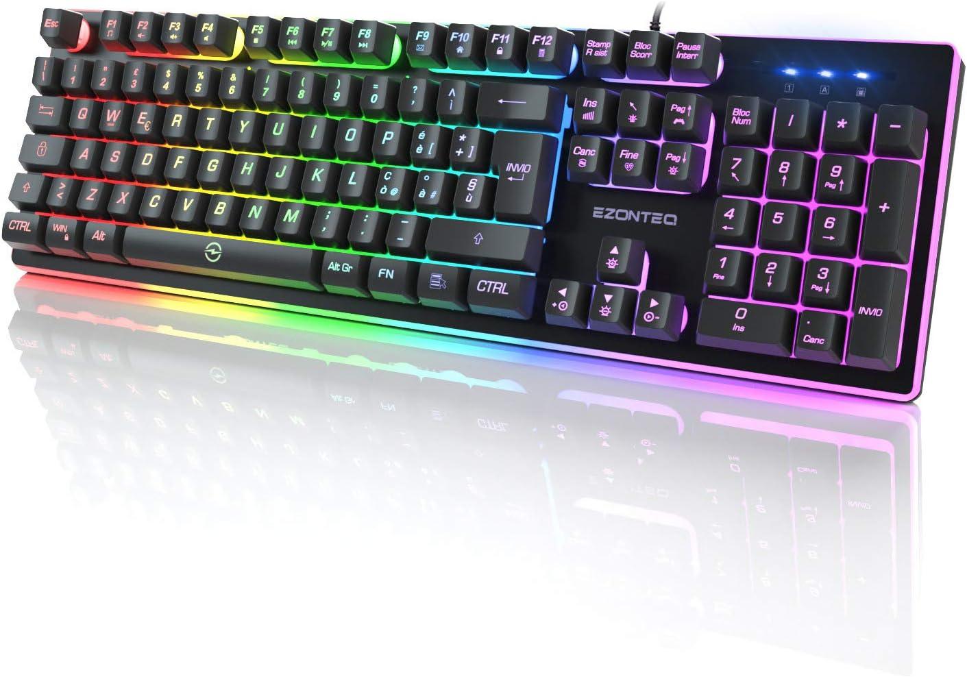EZONTEQ Teclado Gaming PC teclado italiano Juegos RGB LED Retroiluminación USB Teclado Gaming para ordenador MacBook Laptop Layout italiano Keyboard