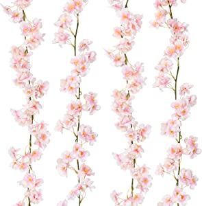 Shiny Flower 2 Pack Artificial Cherry Blossom Garland Hanging Vine Silk Garland Silk Artificial Flower Faux Sakura Garland for Wedding Garden Arch Wall Home Party Decor(Pink)