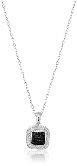 Amazon sterling silver black diamond square pendant necklace sterling silver black diamond square pendant necklace 18quot aloadofball Images