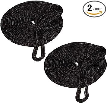 2PCS Double Braid Nylon Dock Line Mooring Rope Black 1//2 Inch 25 Feet Tow Ropes