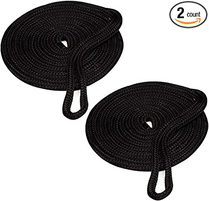 Amarine Made 4-Pack 5//8 Inch 20 FT Double Braid Nylon Dockline,Mooring Rope Double Braided Dock Line