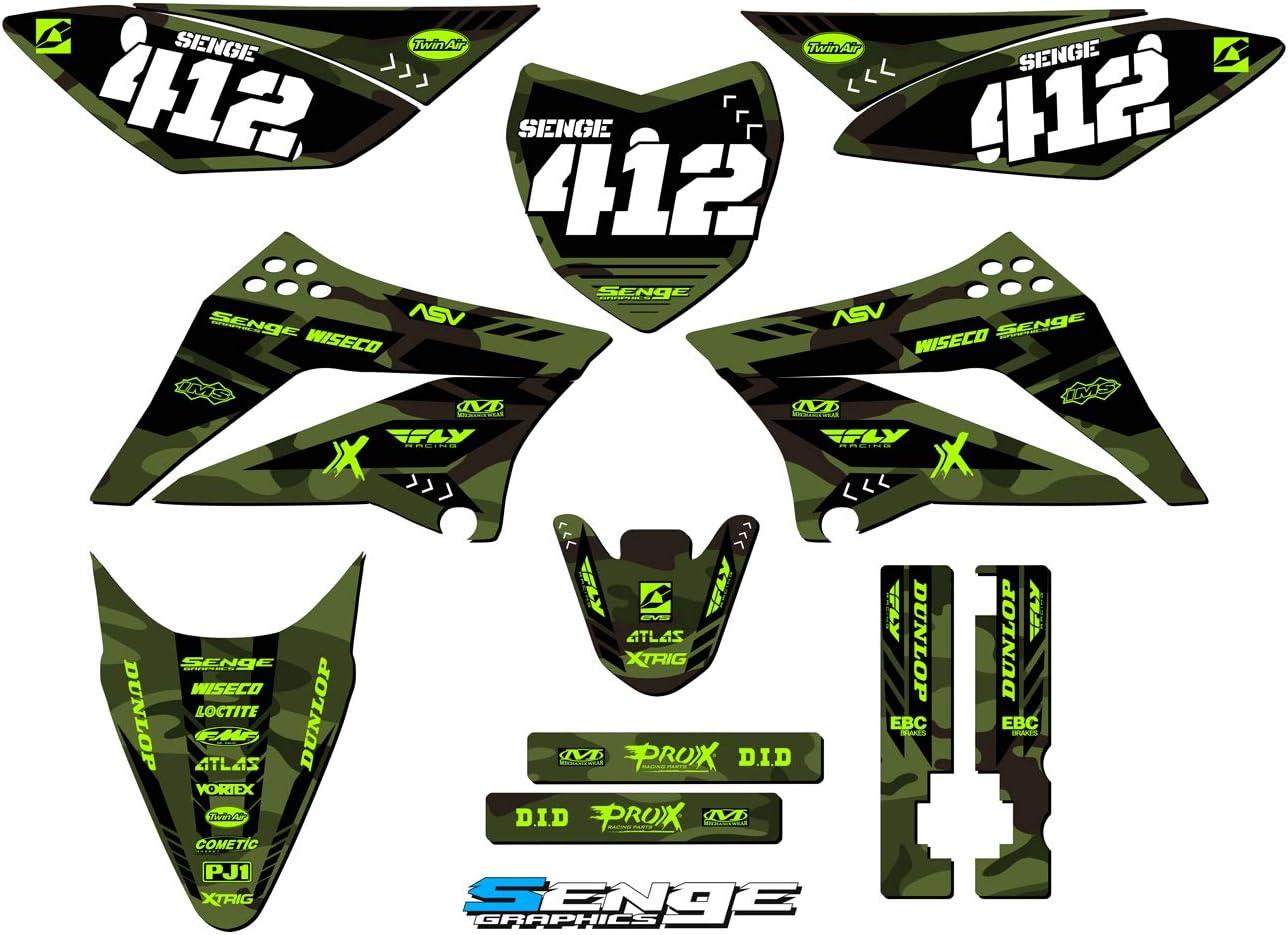 Compatible with Kawasaki MATTE FINISH 2002-2009 KLX 110 Apache Matte Grey Complete Complete Senge Graphics kit