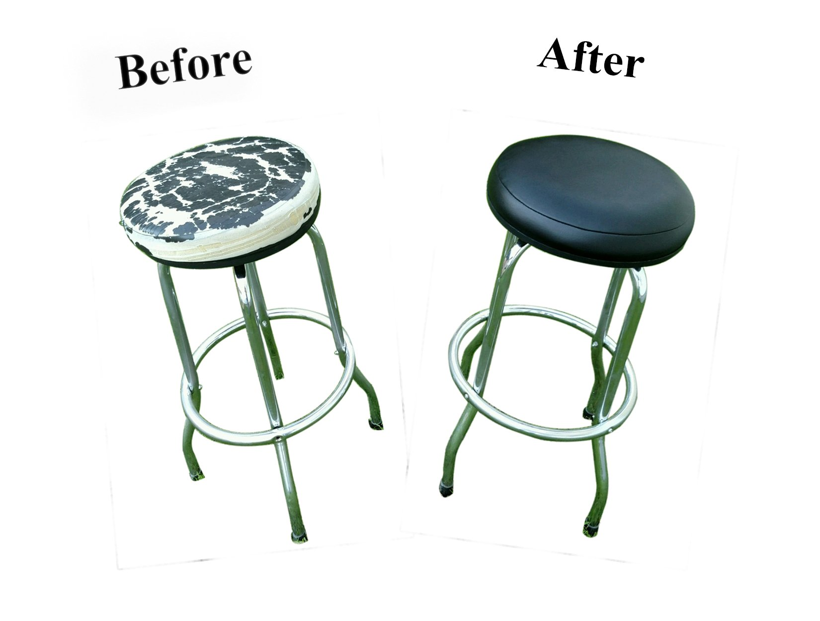 Bar Stool Covers 4 Less BAR STOOL COVER For Kitchen Pub Exam Office - EASY SLIP ON - Vinyl Replacement Seat Top With Extra Thin Padding & Elastic Band (15 inch Diameter, Black)