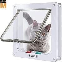 """Puerta para Gato con Cierre magnético de 4 vías, Puerta para Mascotas para Gatos y Perros pequeños, Puerta para Gatos con túnel (M: Inner Size: 5.7""""(W) x 6.0""""(H) x 2.17""""(D), Blanco)"""