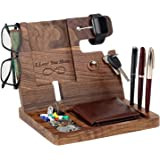Gifts for Men - Engraved Ebony Wood Phone Docking Station - Nightstand with Key Holder, Wallet Stand and Watch Organizer to B
