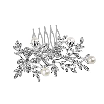 Pearl Comb Bride Wedding Headdress Hair Combs Rhinestone Pearl Jewelry Tiara Hairpins Charms Fashion Silver Luxury Bridal Headwe Jewelry Sets & More Hair Jewelry