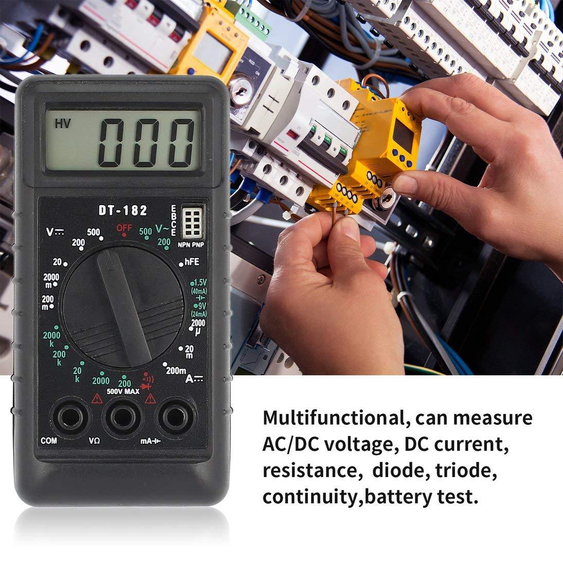 DT-182 Mini mult/ímetro digital Voltaje de CC//CA Medidor de corriente Volt/ímetro de bolsillo de mano Amper/ímetro Diodo Triodo Tester Multitester ToGames-ES