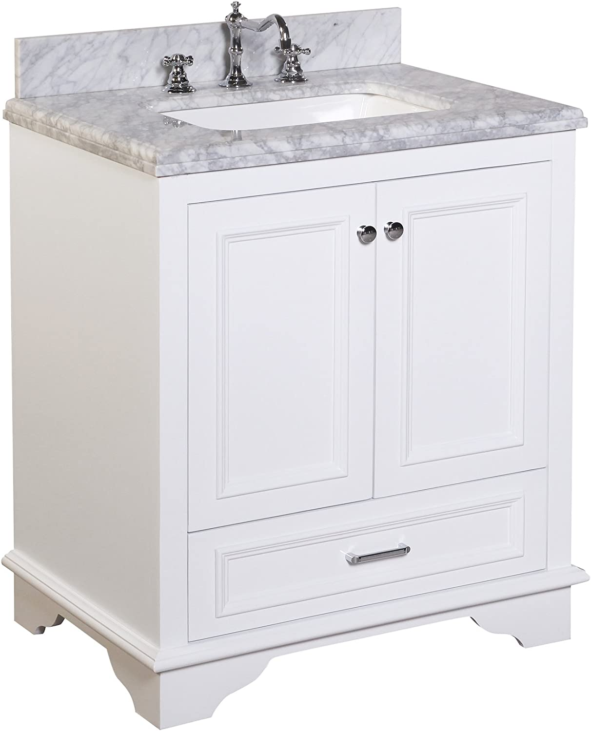 Nantucket 30-inch Bathroom Vanity Carrara White Includes White Cabinet with Soft Close Drawers Self Closing Doors, Authentic Italian Carrara Marble Top, and White Ceramic Sink