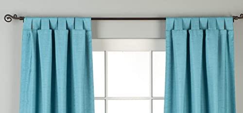 Indian Selections Lined-Turquoise Tab Top Matka Raw Silk Curtain Drape – 80W x 120L – Piece