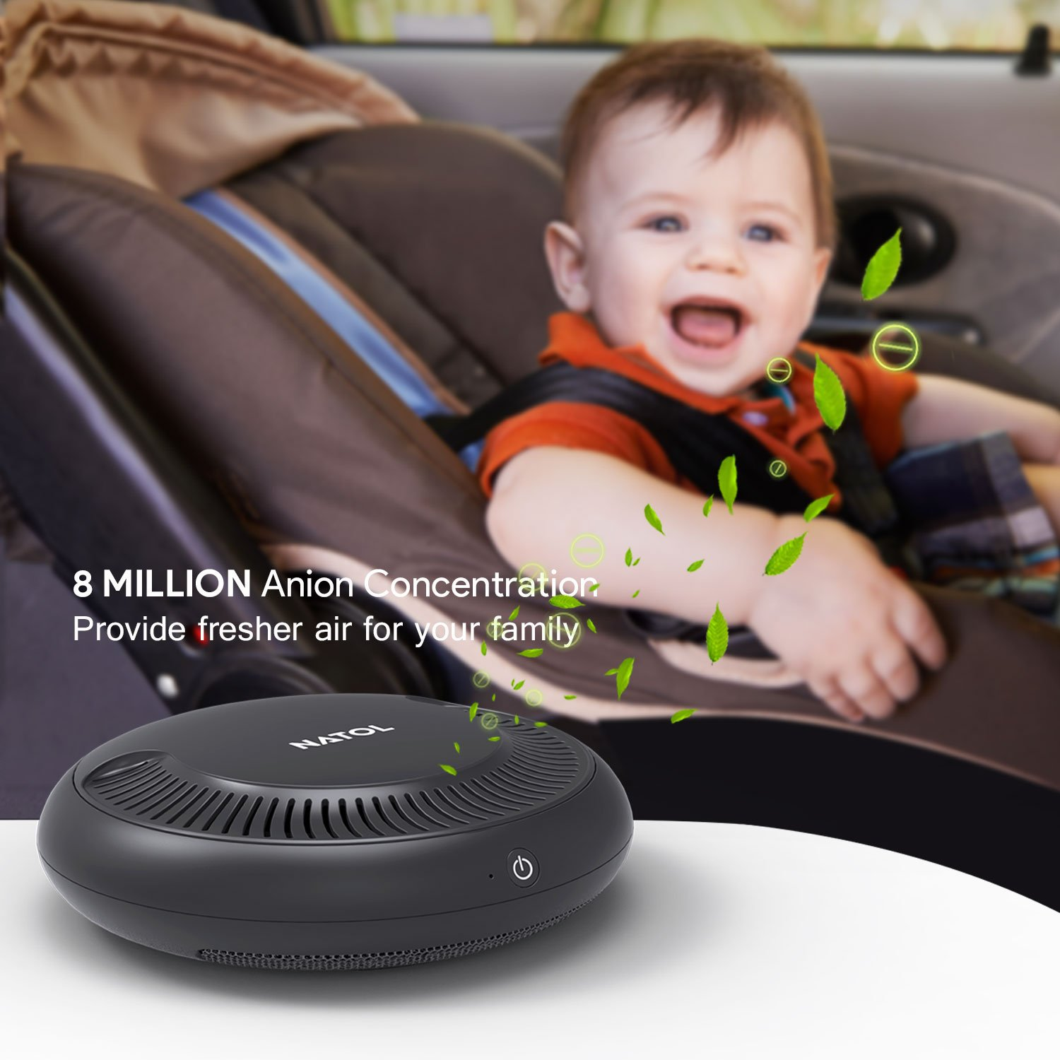 NATOL Car Air Purifier with HEPA Filter, Car Air Freshener Cleaner to Remove Smoke Allergens Pollen Dust Mold Pet Dander Bad Odors Formaldehyde and Harmful Gases