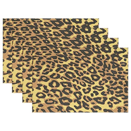 8bfe2935cbe2 Amazon.com: HEOEH Leopard Animal Print Placemats Table Mat Heat ...