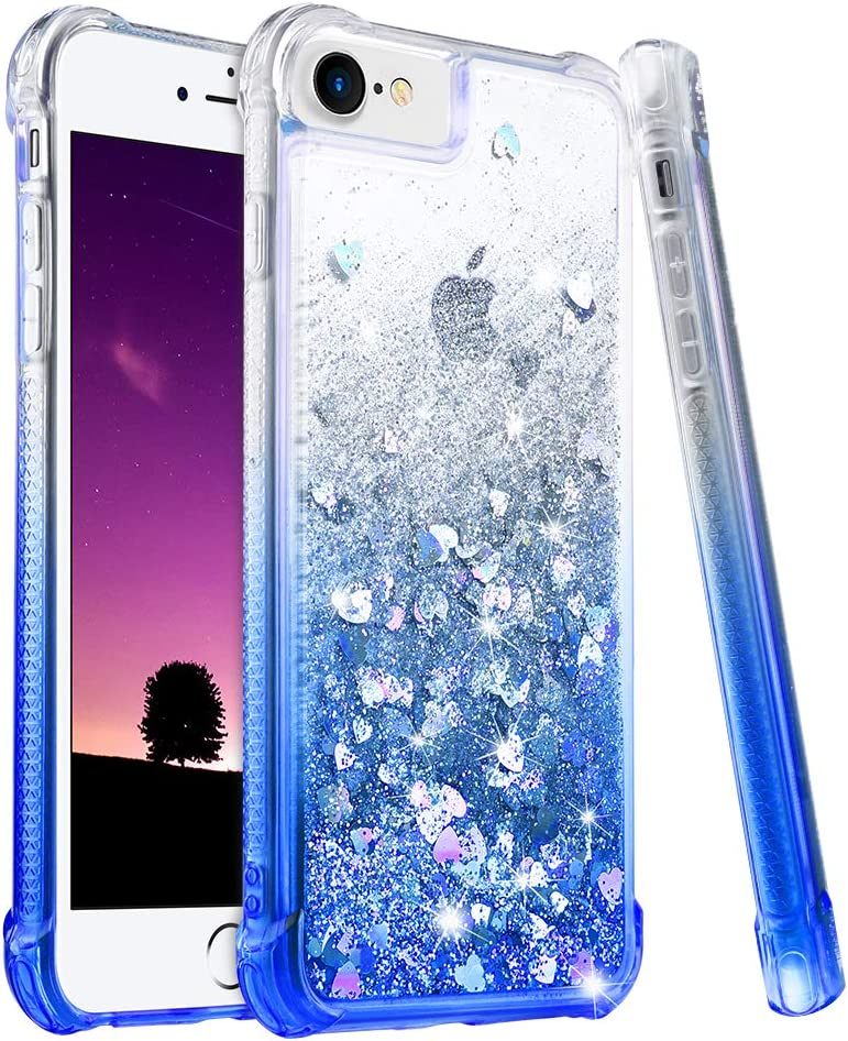 """Ruky iPhone 6 6S 7 8 Case, iPhone SE 2020 Case, Gradient Quicksand Series Glitter Bling Flowing Liquid Floating Soft TPU Protective Girls Women Case for iPhone 6/6s/7/8/SE 2020 4.7"""", Gradient Azure"""