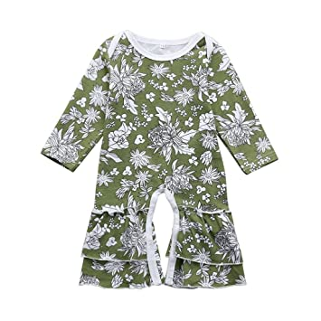 f42314e32313 Image Unavailable. Image not available for. Color  FEITONG Infant Baby  Toddler Girls Long Sleeve Floral Print Ruffle Romper Jumpsuit Outfits  Clothes