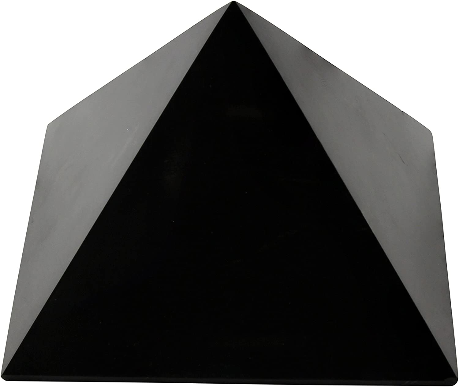 Polished Shungite Pyramid 4 Inches, Contains Carbon Fullerenes for EMF Protection | Authentic Anti-Radiation Shungite Stone Figures from Karelia, Russia | 4 Inch Pyramid, Polished