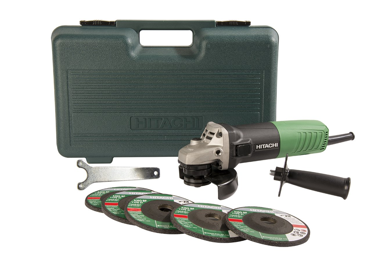 Hitachi G12SR4 6.2-Amp 4-1/2-Inch Angle Grinder with 5 Abrasive Wheels by Hitachi (Image #1)