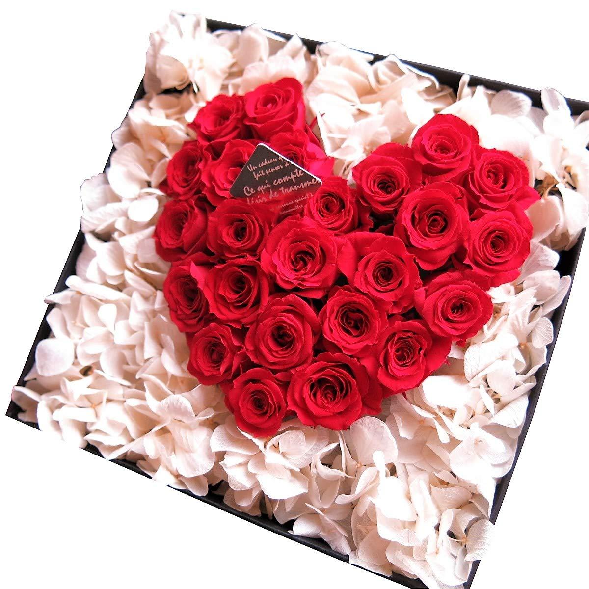 誕生日プレゼント フラワーギフト プリザーブドフラワー  赤バラ ハート 箱開けてスマイル ボックス(L)入り プリザーブドフラワー B00U2M8F4E